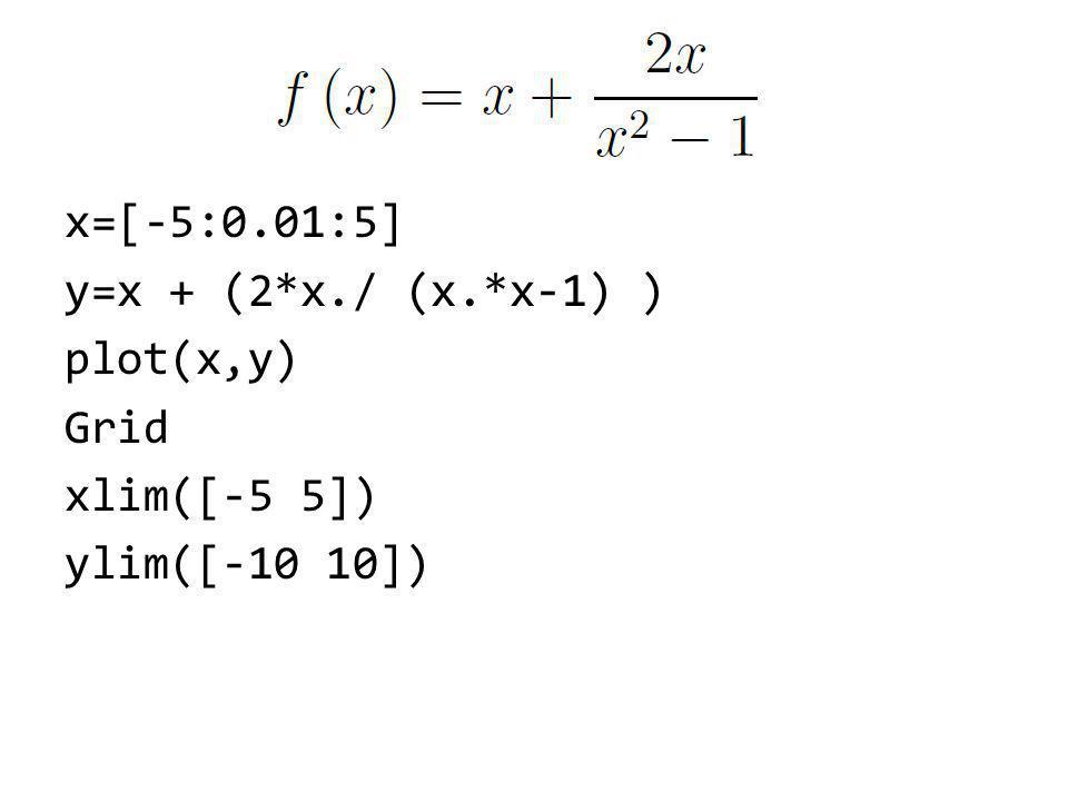 x=[-5:0.01:5] y=x + (2*x./ (x.*x-1) ) plot(x,y) Grid xlim([-5 5]) ylim([-10 10])